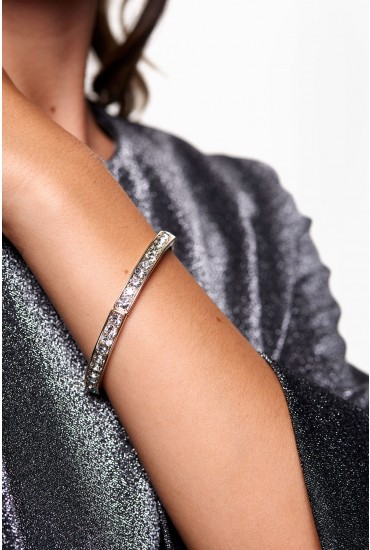 Lainey Sparkle Elastic Bangle in Silver