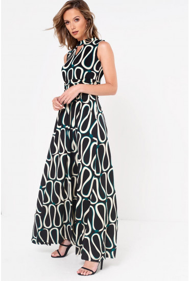 Lainey Choker Printed Jersey Maxi Dress