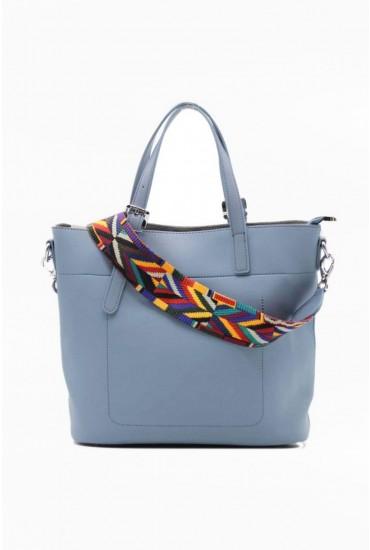 Oliver Tote Bag with Detachable Strap in Blue