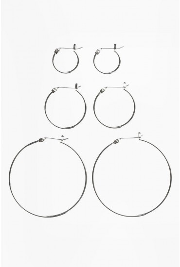 Belinda Hoop 3 Pack in Silver