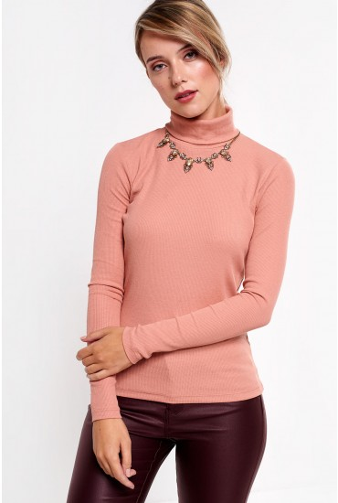 Ganie Ribbed Roll Neck Top in Peach