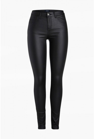Five Mid Rise Coated Trousers in Black