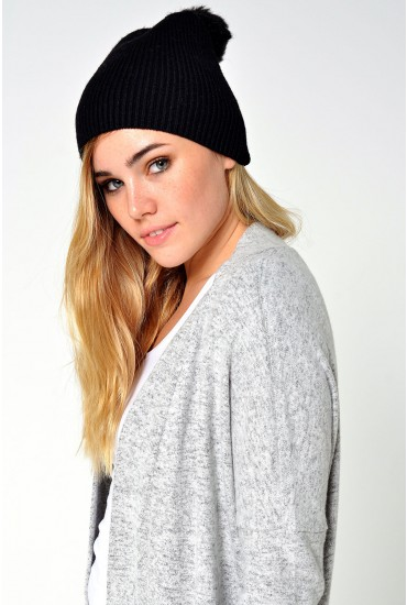 Jettie Cashmere Beanie in Black