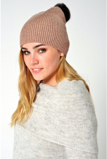 Jettie Cashmere Beanie in Rose