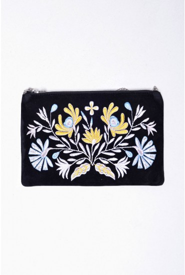 Fairy Embroidered Cross Body Bag in Blue