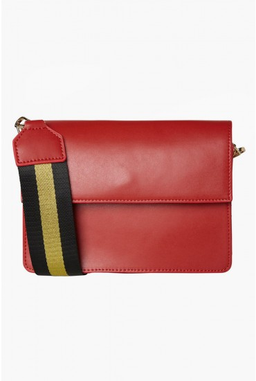 Faline Crossbody Bag with Striped Strap in Red-one-size