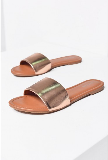 Diya Flat Sandals in Rose Gold