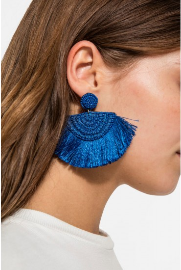 Mollory Tassel Earrings in Blue