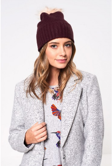 Diana Bobble Hat in Wine