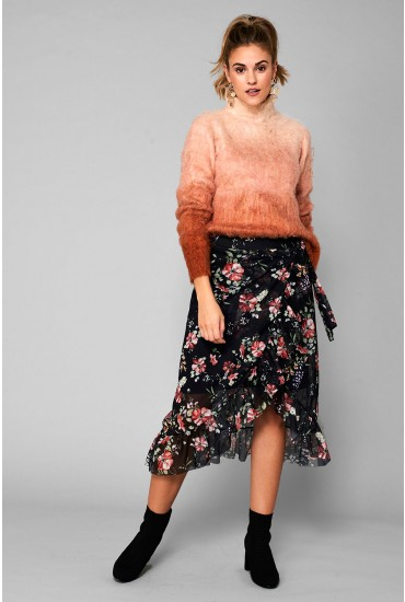 LuLu Frill Skirt in Black Floral Print