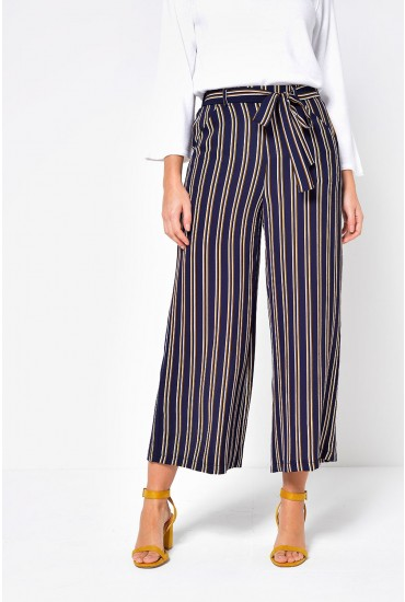 Nellie Stripe Culotte Pants in Navy