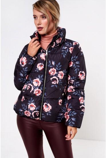 Frankie Short Padded Jacket in Black Floral Print