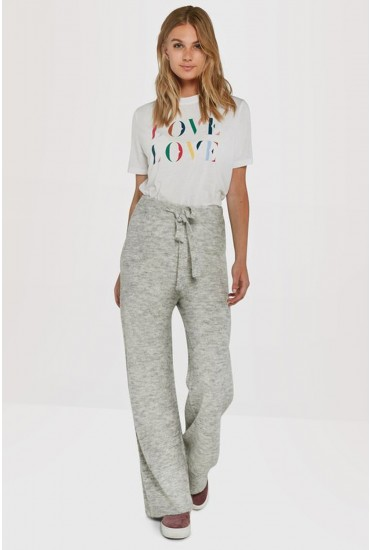 Tolly Wide Leg Lounge Knit Trousers in Grey