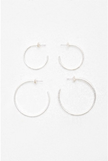 Tenna Hoop Earring Set in Silver