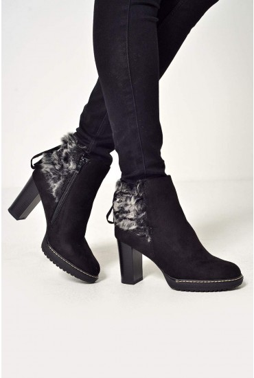 Niamh Faux fur Ankle Boots in Black