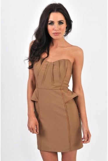 Heather Bandeau Peplum Detail Dress in Beige