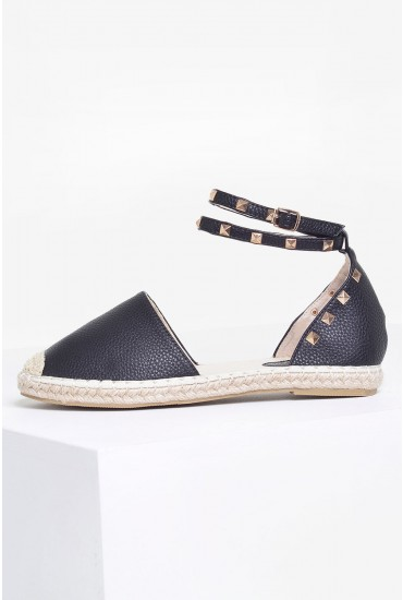Nora Studded Espadrilles in Black
