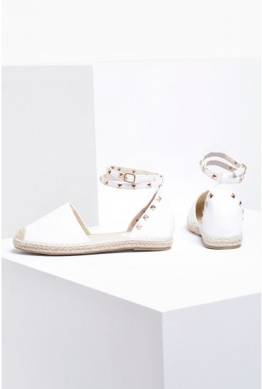 Nora Studded Epadrilles in White