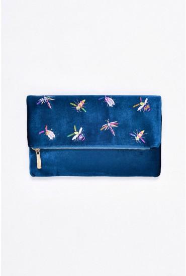 Camila Velvet Foldover Clutch Bag