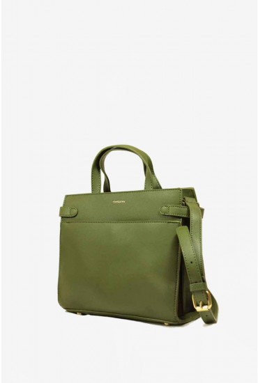 Polly Leather Effect Cross Body Bag in Green