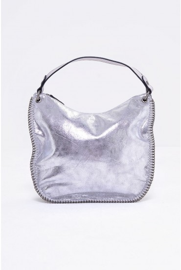Jordan Metallic Shoulder  Bag in Silver