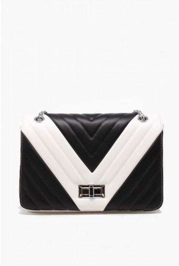 Sofia Chain Strap Bag in Monochrome