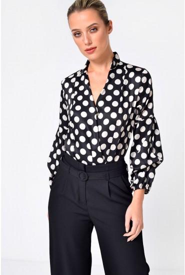 Becci Polka Dot Bodysuit in Black and Cream