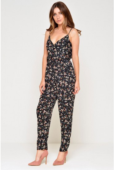 Carri Strappy Jumpsuit in Black Floral