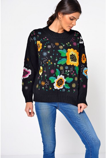 Nattie Floral Embroidered Jumper in Black