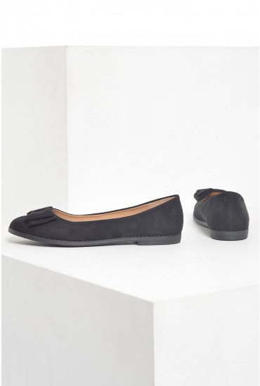 Poppy Bow Pumps in Black Suede