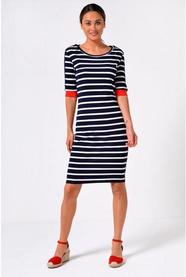 Louisa Short Sleeve Stripe Bodycon Dress in Navy