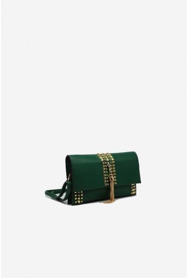 Mona Studded Shoulder Bag in Green
