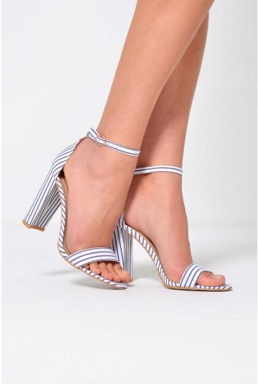 Janice Striped Block Heel Sandals in Navy