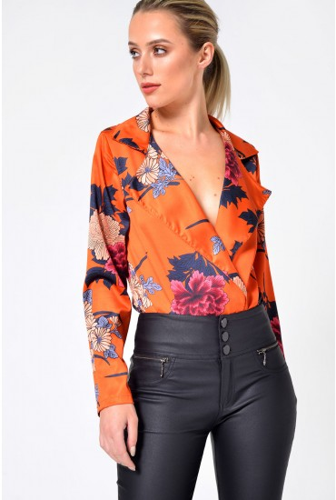 Cecily Floral Bodysuit in Burnt Orange