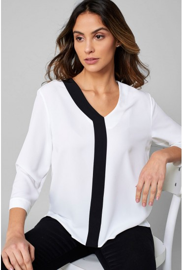 Trinny Contrast Top in White