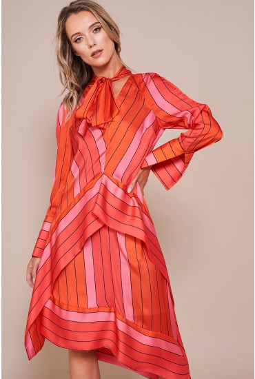 Elise Striped Silky Dress in Red