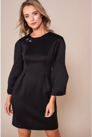 Polyanna Structured Dress in Black