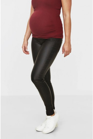 Mlram Slim Coated Maternity Jeans in Black