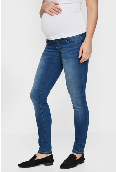 Fifty Maternity Slim Jeans in Medium Blue