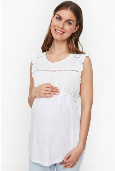 IMan Maternity Jersey Top in White