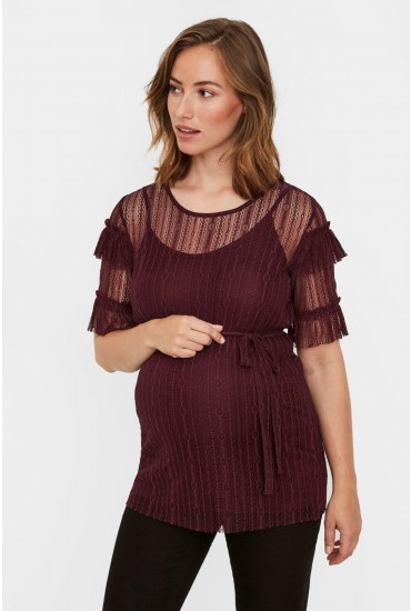 Sabrina Maternity Lace Top in Wine