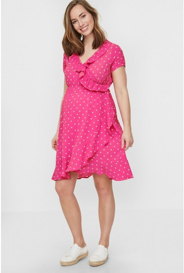 Lua Maternity Dot Wrap Dress in Pink