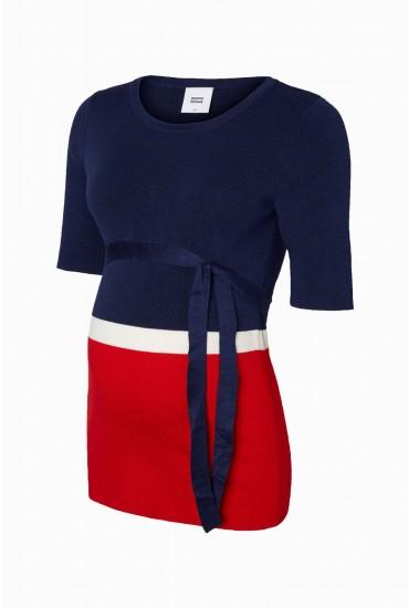 Nina Maternity Knit Top in Navy