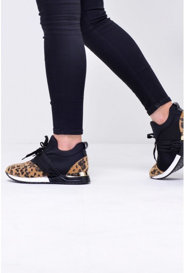 Bianca Lace Up Trainers in Black Leopard Print