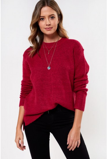 Mirelle Roud Neck Jumper in Cerise