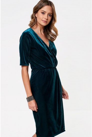 Sigu Ribbed Midi Dress in Emerald