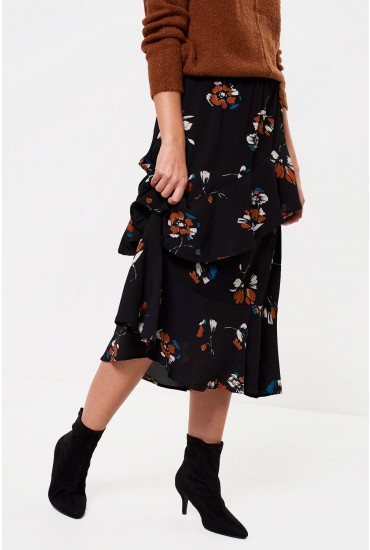 Gitte Frill Hem Midi Skirt in Black Floral Print