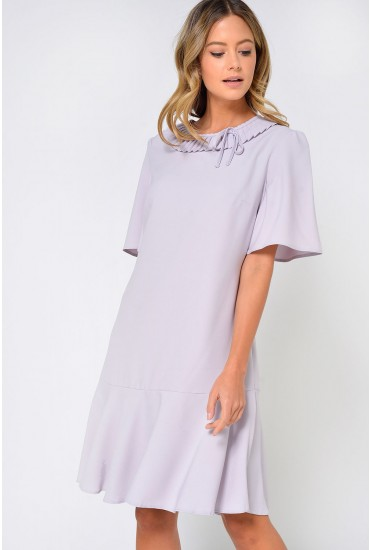 Melina Frill Collar Tunic Dress in Grey
