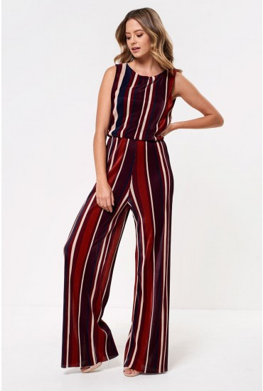 Mia Plisse Striped Jumpsuit