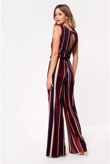 Mia Plisse Striped Jumpsuit